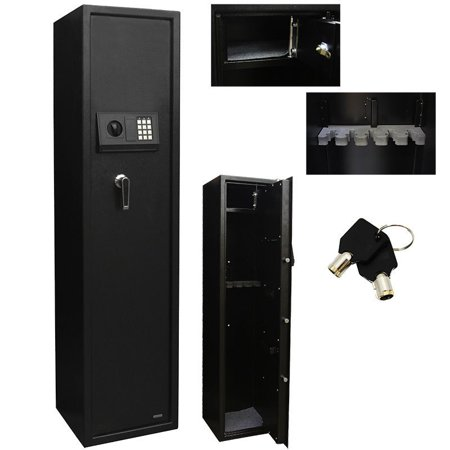 5 rifle safe box gun storage electronic pin digital keypad lock black. Black Bedroom Furniture Sets. Home Design Ideas
