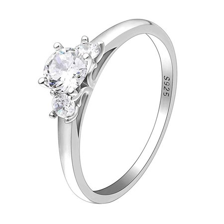 Ginger Lyne Collection Nina 925 Sterling Silver 3 Stone Engagement Wedding Bridal Ring Cubic Zirconia Size 7