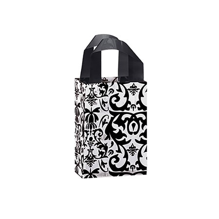 Small Black Damask Frosted Plastic Boutique Gift Bags - Case of 25 - Black Gift Bags