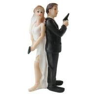 Creative Super Sexy Spy Funny Bride and Groom Wedding Cake Topper Figurine Home Decor