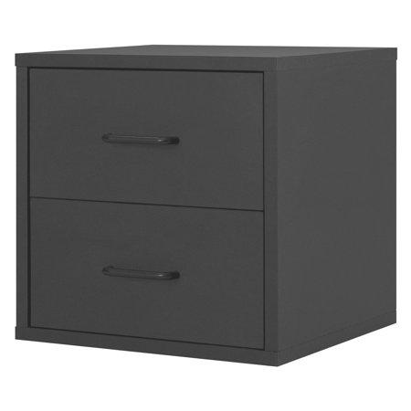 Modular 2-Drawer Cube, Black