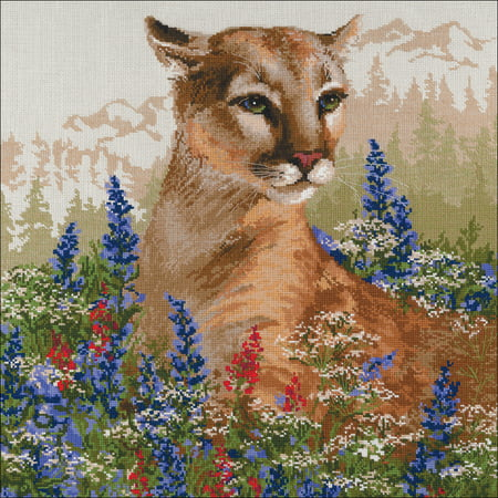 "Riolis Counted Cross Stitch Kit 23.5X23.5""-Cougar (10 Count) - image 1 of 1"