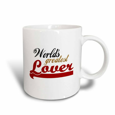 3dRose Worlds Greatest Lover - Funny romantic gifts - humorous fun love romance anniversary Valentines day, Ceramic Mug, 15-ounce