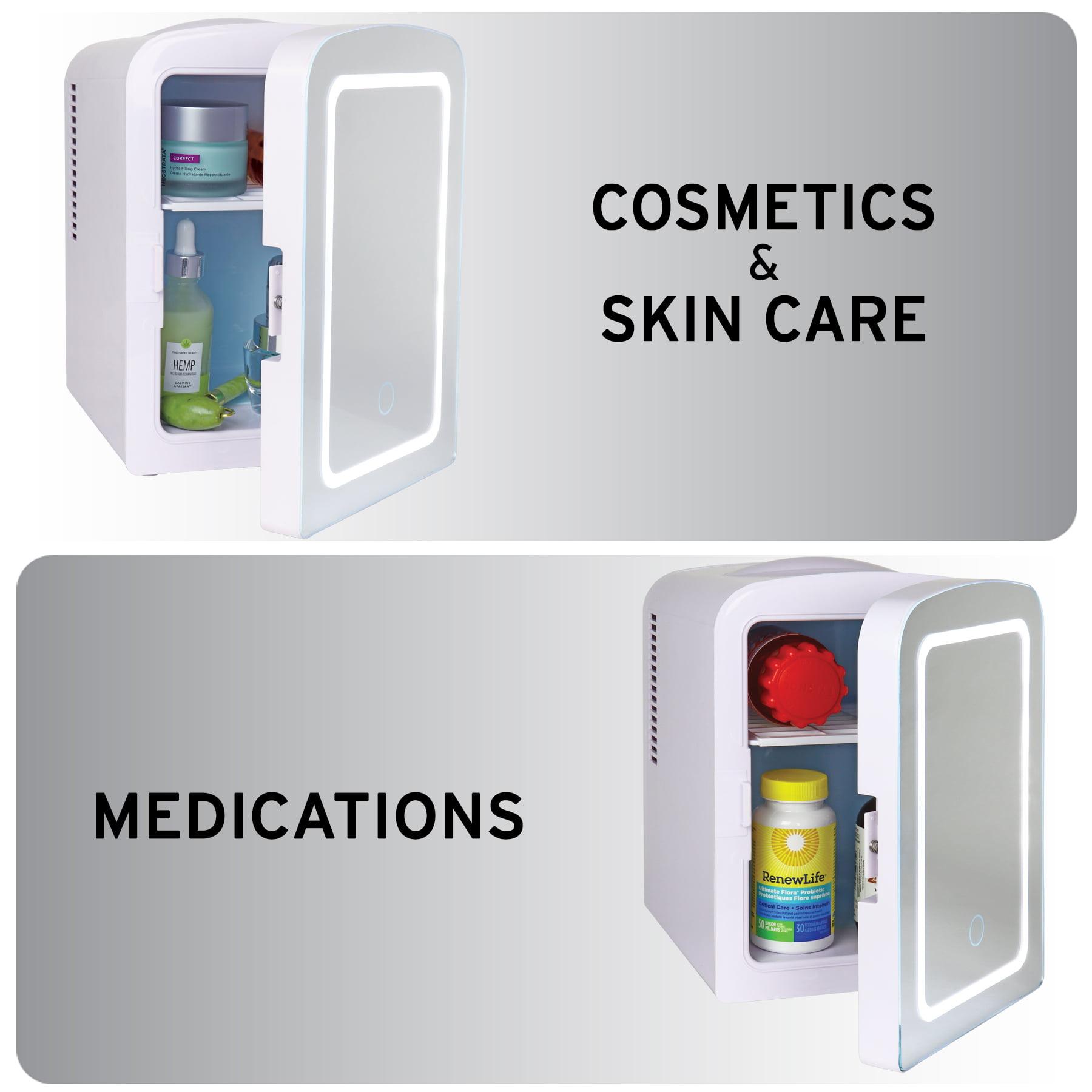 Koolatron Mirrored Led Mini Cooler Mini Fridge For Cosmetics Beverages Food Or Medicines 4 Liters 4 2 Quarts Walmart Com Walmart Com