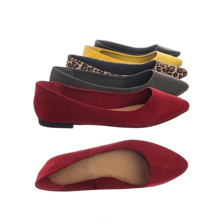 c7725e27130c9 Hold by City Classified, Women Wide Width Comfortable Foam Padded Flat  Pointed Toe Ballet Flats