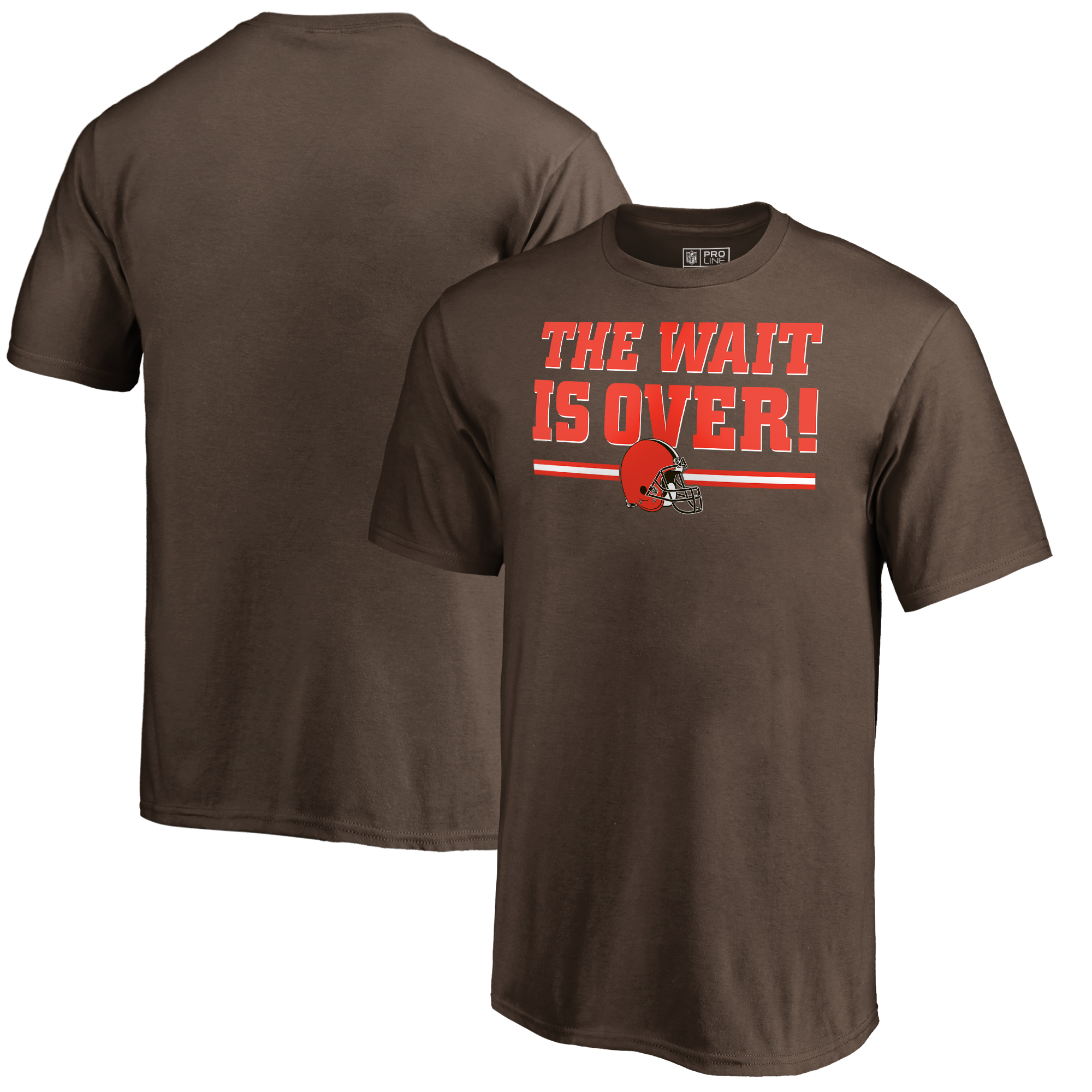 Cleveland Browns NFL Pro Line by Fanatics Branded Youth The Wait Is Over T-Shirt - Brown