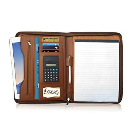 Skittz PU Leather Zippered Padfolio Organizer - ipad Tablet Portfolio