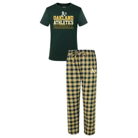 Oakland Athletics Mlb  Medalist  Mens T Shirt   Flannel Pajama Pants Sleep Set