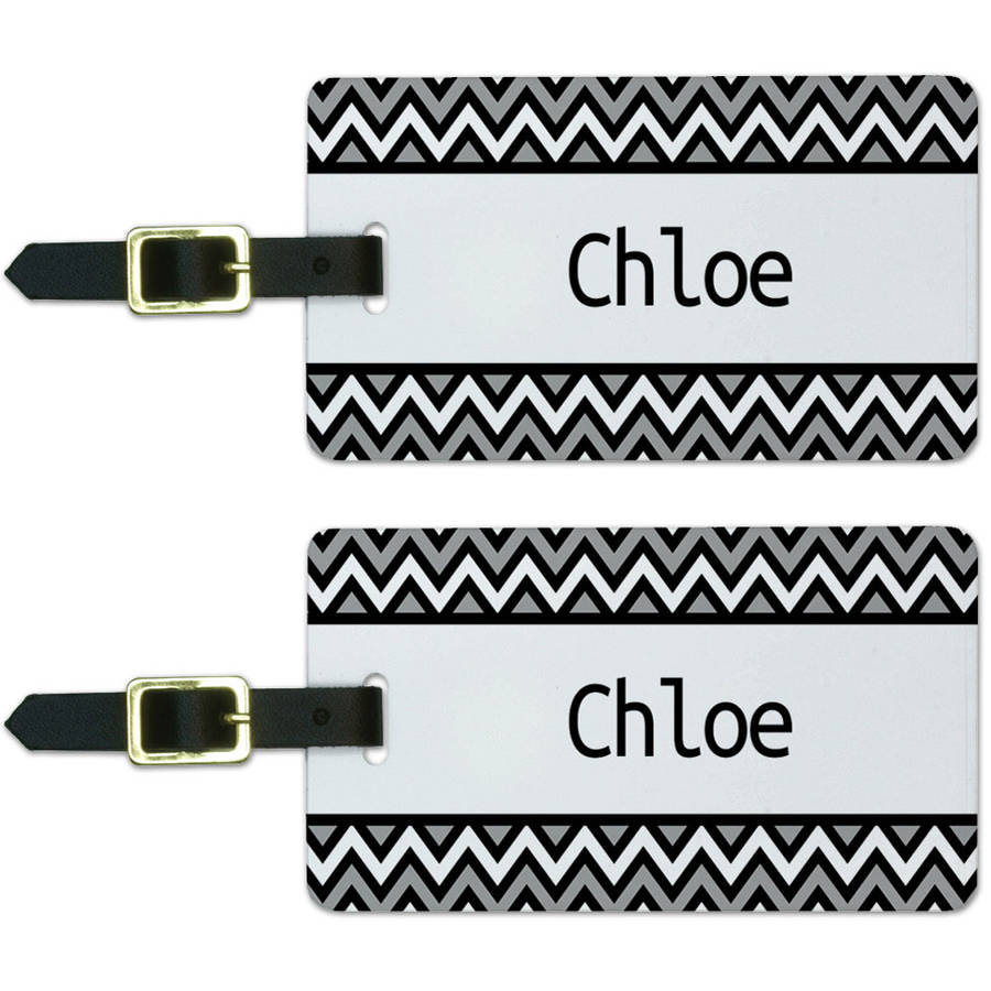 Chloe Black and Grey Chevrons Luggage Suitcase Carry-On ID Tags, Set of 2