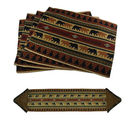 5 Piece Forest Bears Rustic Lodge Fabric Placemat & Fringed Table Runner Set Lodge Tapestry Placemat