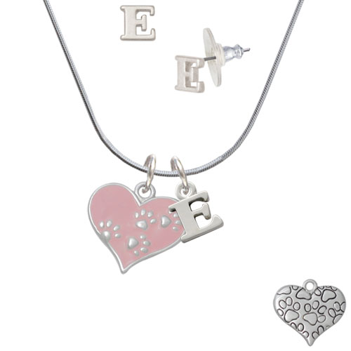 Pink Enamel Heart with Paw Prints - E Initial Charm Necklace and Stud Earrings Jewelry Set