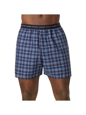 Big Men's Comfort Flex Exposed Waistband Blue Plaid Boxer 2XL, 5-Pack
