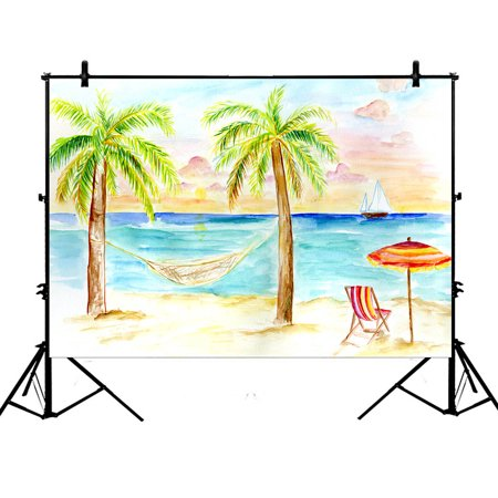 YKCG 7x5ft Tropical Beach Summer Palm Tree Coconut Photography Backdrops Polyester Photography Props Studio Photo Booth Props