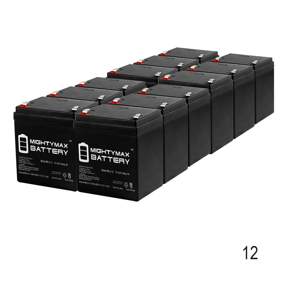 ML5-12 - 12V 5AH Wheelchair Medical Mobility Rechargeable SLA AGM Battery - 12 Pack