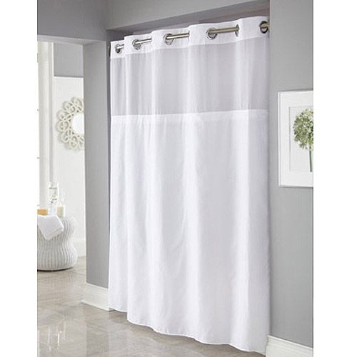 Bon Hookless White Mystery Polyester Shower Curtains