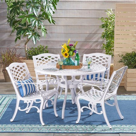 Brody Traditional Outdoor 4 Seater Round Cast Aluminum Dining Set, White Finish