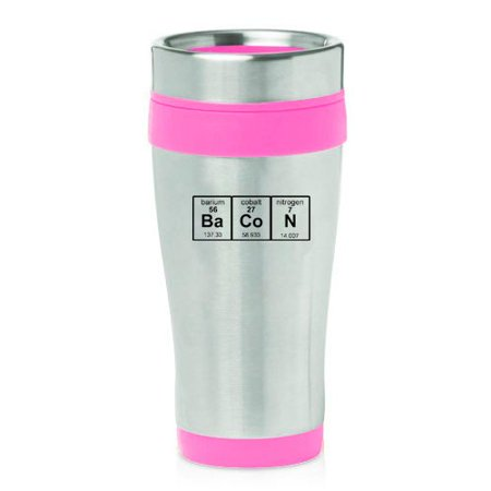 16oz Insulated Stainless Steel Travel Mug Bacon Periodic Table Pink
