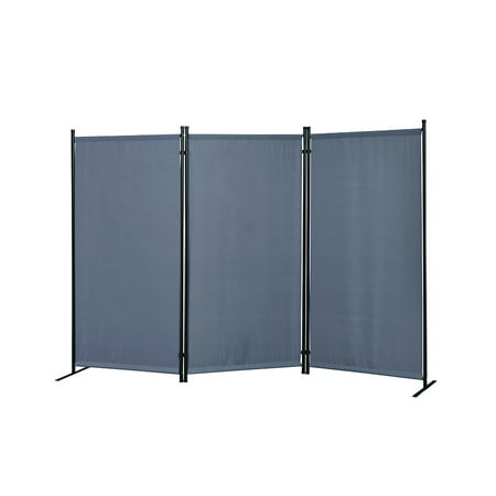 Galaxy Gray Indoor/Outdoor 3-panel Room Divider with Metal Tubing Frame and Water Resistant Fabric ()