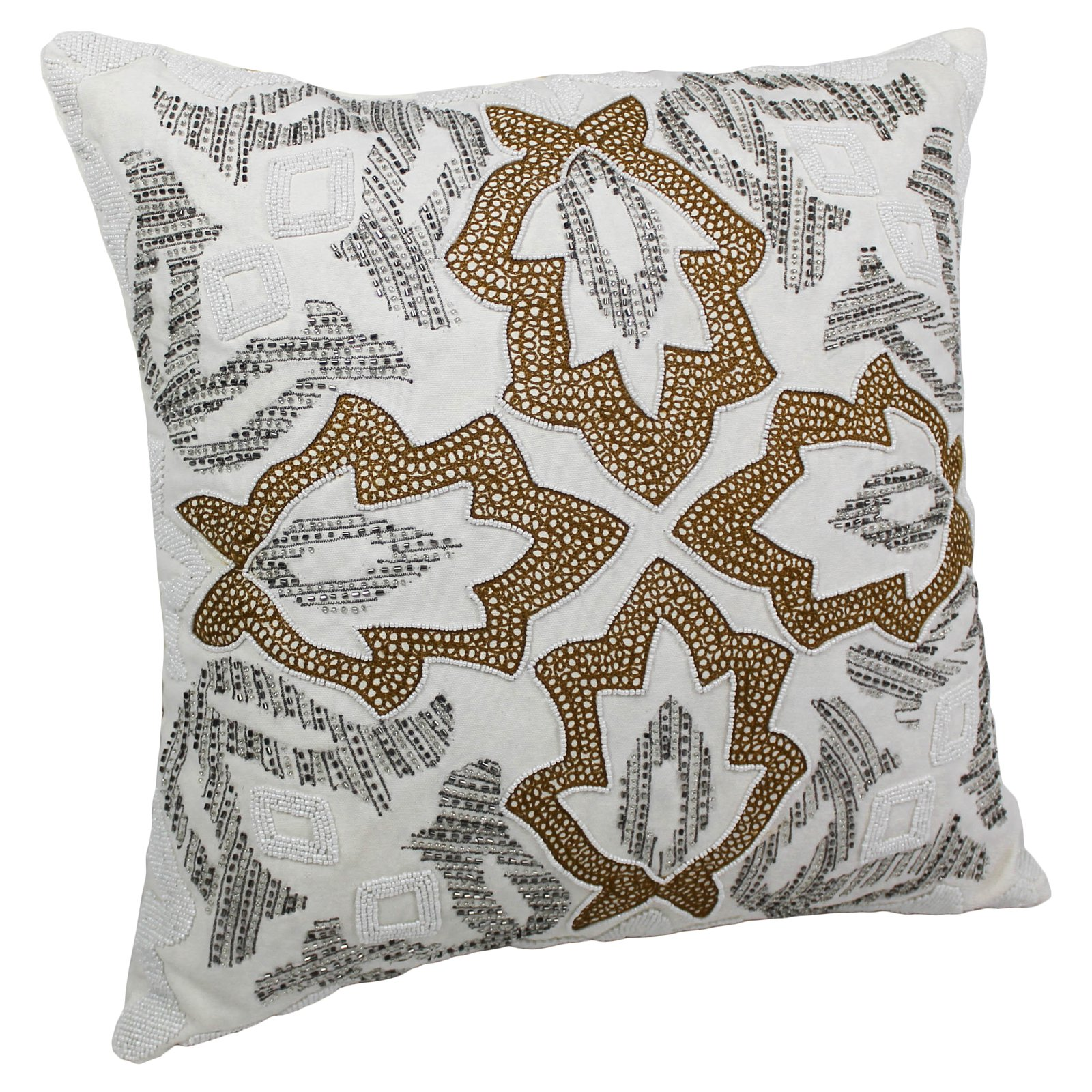 Blazing Needles 20 x 20 in. Symmetrical Floral Beaded Throw Pillow
