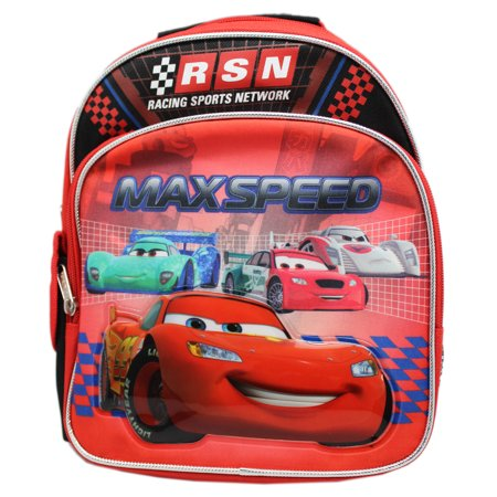 Disney Pixar's Cars Max Speed Lightning McQueen Red Preschool Backpack (10in)