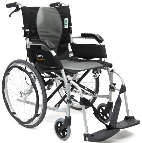 Karman Ergonomic Wheelchair Ergo Flight in 16 inch Seat, Pearl Silver Frame