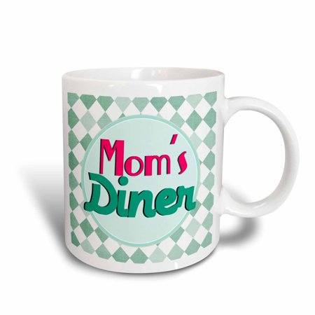 3dRose Moms Diner on aqua. Retro hot pink turquoise teal blue 1950s style 50s fifties kitchen Mothers day, Ceramic Mug, 15-ounce