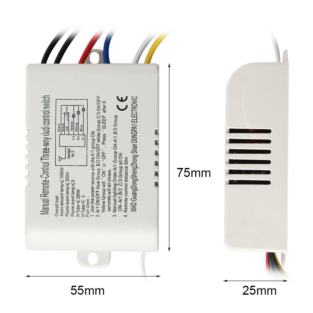 220V 3 Way ON/OFF Digital RF Remote Control Switch Wireless For ...