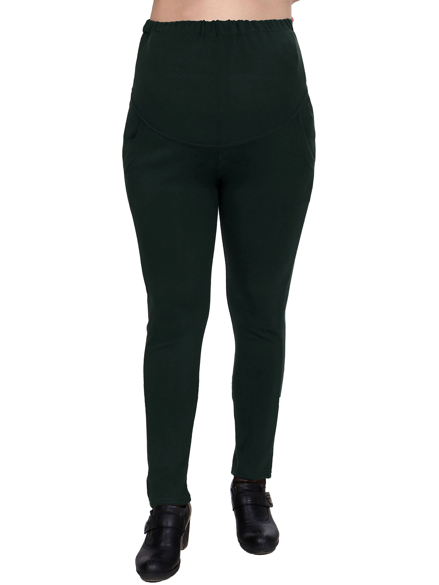 Harcadian High Waist Adjustable Stretchy Maternity Legging Pants,Green, One Size