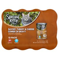 Special Kitty Savory Turkey & Cheese Dinner in Gravy Premium Cat Food, 13 oz, 12 count
