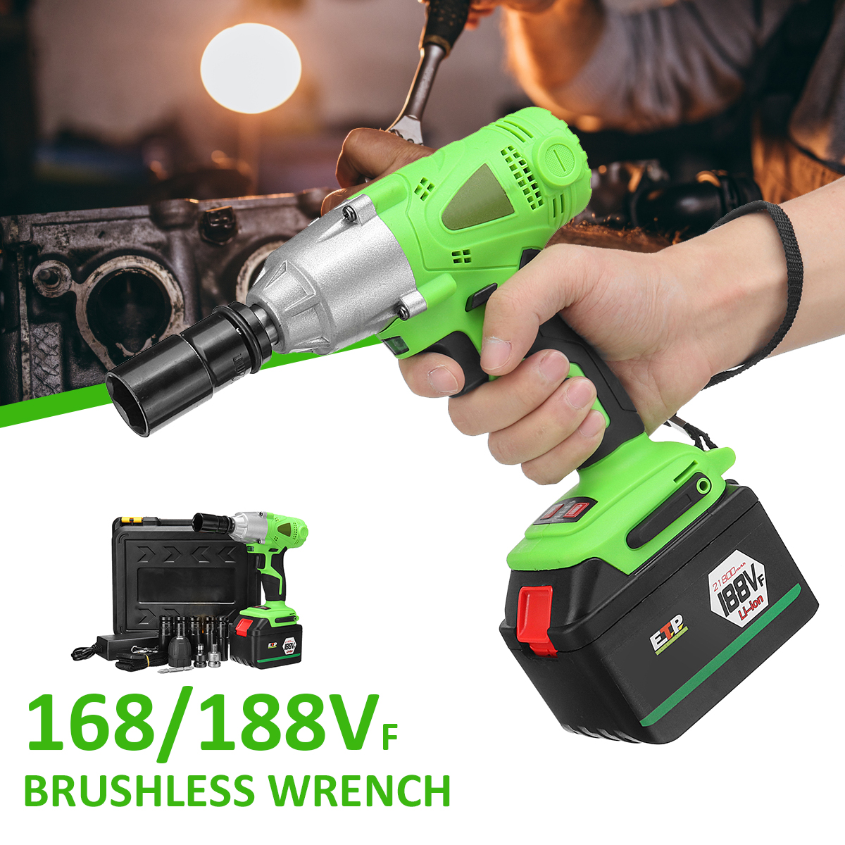 98/128VF Brushless Cordless Electric Impact Wrench Driver Drill Screwdriver Socket 10MM LED Light