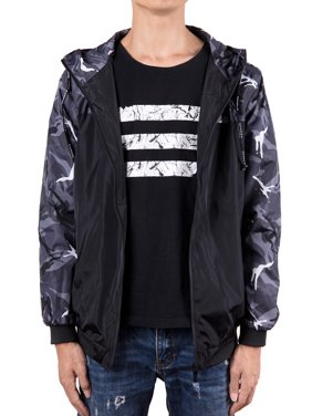 41b6ab43f99b7 Product Image SAYFUT Men's Hooded Windbreaker Jacket Casual Hoodies  Lightweight Water Resistant Flight Floral Bomber Jacket Gray/