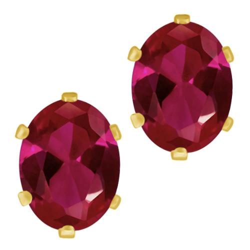 2.84 Ct Oval 8x6mm Red Created Ruby Brass Yellow Gold Plated Brass Stud Earrings