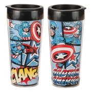 MyPartyshirt Captain America Marvel Comics Plastic Travel Coffee Mug