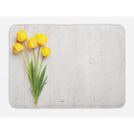 Yellow Bath Mat, Colorful Tulips on a Rustic White Wooden Yellow Board with Spring Theme, Non-Slip Plush Mat Bathroom Kitchen Laundry Room Decor, 29.5 X 17.5 Inches, Yellow White Lime - Kitchen Theme Decor