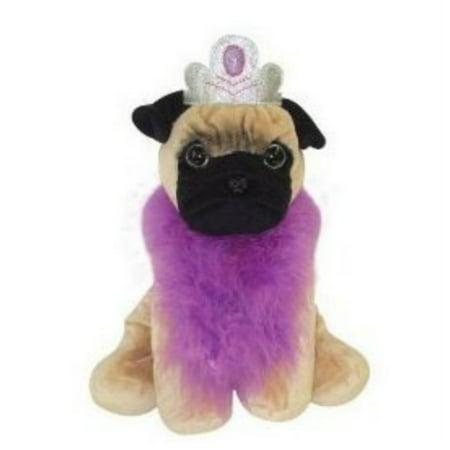 UBI Petz Dogz Pug Puppy Dog Boa & Crown Stuffed Animal