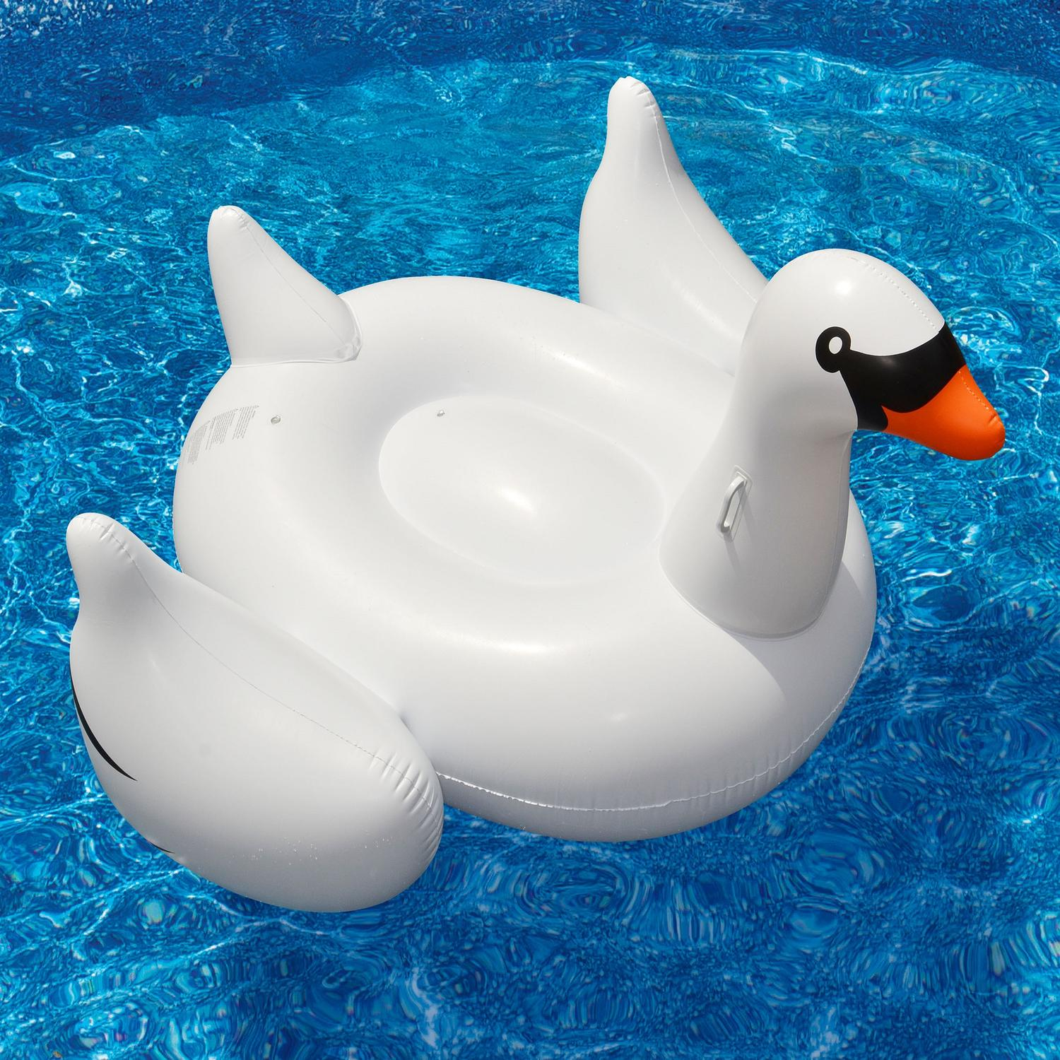 "Swimline 75"" Water Sports Inflatable Giant Swan 1-Person Swimming Pool Ride-On Float Toy - White/Black"