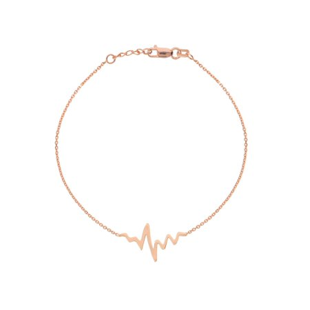 Rose Rose Gold Bracelet (14k Rose Gold East2West HeartBeat Bracelet Polished Adjustable Length )