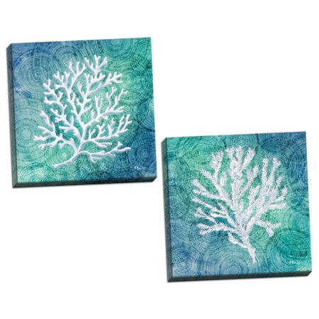 Gango Home Decor Coastal Echoes Coral I & IV by Paul Brent (Ready to Hang); Two 12x12in Hand-Stretched Canvases