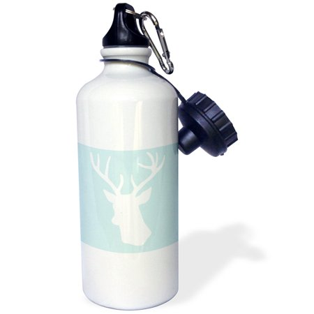 3dRose White deer head silhouette on mint blue - stag antlers - stylish modern pastel turquoise teal aqua, Sports Water Bottle, 21oz ()