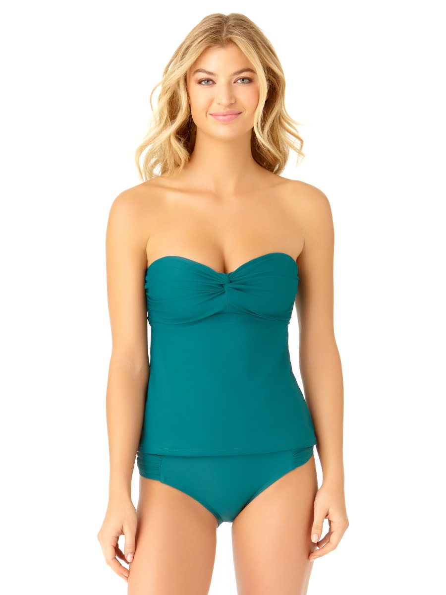 catalina women's teal twist bandeau tankini swim top