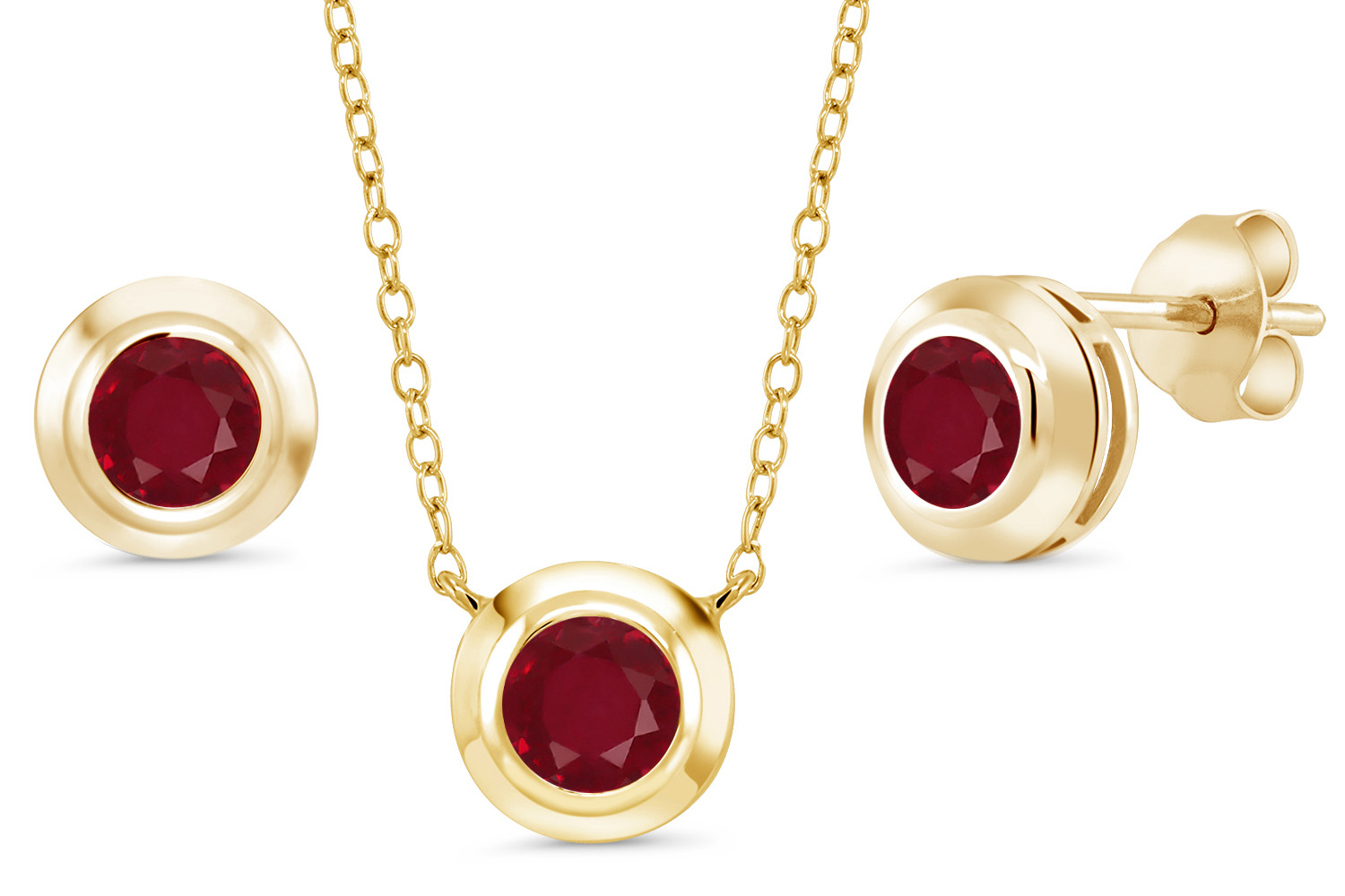 2.10 Ct Round Red Ruby 18K Yellow Gold Plated Silver Pendant Earrings Set by