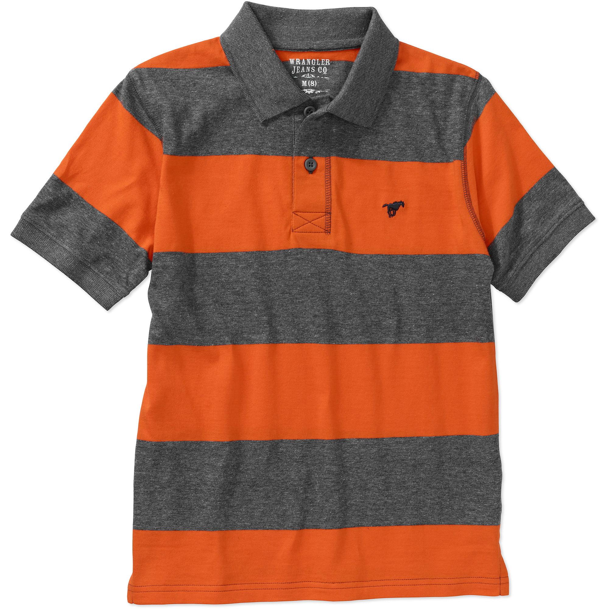 Wrangler Boys' Short Sleeve Rugby Stripe Polo