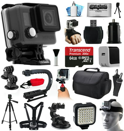 GoPro HERO+ Camera Camcorder (CHDHC-101) with Professional Accessories Kit includes 64GB Card + Case + Tripod + Head & Chest Strap + Home & Travel Charger + Opteka X-Grip + Car Mount + More