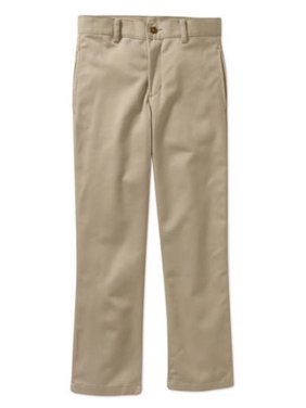 George Husky Boys School Uniform Flat Front Twill Pant With Scotchguard (Husky)