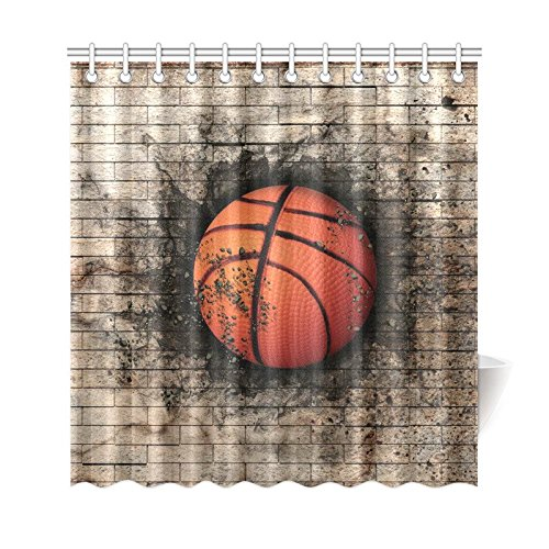 Gckg Brick Wall Basketball Sports Shower Curtain Vintage Polyester Fabric Bathroom Sets With Hooks 66x72 Inches