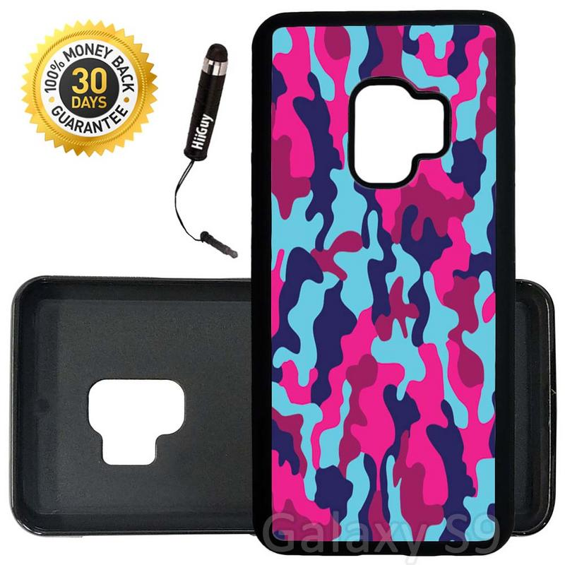 Custom Galaxy S9 Case (Girly Colorful Camouflage) Edge-to-Edge Rubber Black Cover Ultra Slim | Lightweight | Includes Stylus Pen by Innosub
