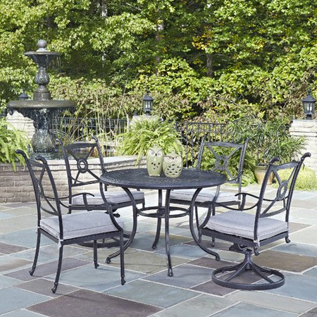 Home Styles Athens Outdoor 5pc Dining Set With 42 Dining Table 2 Swivel Chairs And 2 Arm