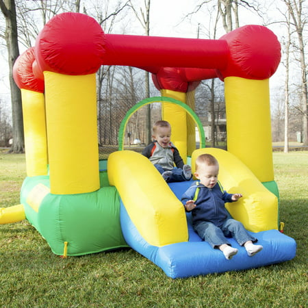 Hey! Play! Inflatable Castle Bounce House with Slide and Hoop
