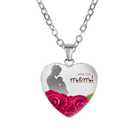 KABOER 1 Pcs Mom Love Heart Necklace Jewelry Pendant Mother's Day Mother Birthday Gift