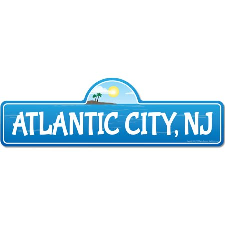 Atlantic City, NJ New Jersey Beach Street Sign | Indoor/Outdoor | Surfer, Ocean Lover, Décor For Beach House, Garages, Living Rooms, Bedroom | Signmission Personalized (Mall In Atlantic City New Jersey)